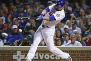 Starting pitcher Jon Lester #34 of the Chicago Cubs hits a single in the 4th inning against the Pittsburgh Pirates at Wrigley Field on September 27, 2018 in Chicago, Illinois.