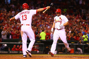Matt Holliday #7 of the St. Louis Cardinals crosses home plate after hitting a solo home run against the Pittsburgh Pirates in the seventh inning at Busch Stadium on September 30, 2016 in St. Louis, Missouri.