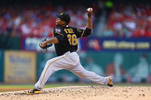 Starter Edinson Volquez #36 of the Pittsburgh Pirates pitches against the St. Louis Cardinals in the third inning at Busch Stadium on July 10, 2014 in St. Louis, Missouri.