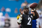 Michael Vick #2 of the Pittsburgh Steelers warms up before a preseason game against the Buffalo Bills on August 29, 2015 at Ralph Wilson Stadium in Orchard Park, New York.