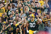Jimmy Graham #80 of the Green Bay Packers celebrates a touchdown during the first quarter of a preseason game against the Pittsburgh Steelers at Lambeau Field on August 16, 2018 in Green Bay, Wisconsin.