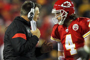Quarterbacks coach Jim Zorn talks with quarterback Tyler Palko #4 of the Kansas City Chiefs during a timeout in the game against the Pittsburgh Steelers on November 27, 2011 at Arrowhead Stadium in Kansas City, Missouri.