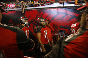 Quarterback Ryan Fitzpatrick #14 of the Tampa Bay Buccaneers waits in the tunnel at the start of a game against the Pittsburgh Steelers on September 24, 2018 at Raymond James Stadium in Tampa, Florida.