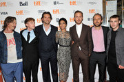 """(L-R) Actors Ben Mendelsohn, Dane DeHaan, Bradley Cooper, Eva Mendes, Ryan Gosling, Writer/Director Derek Cianfrance and actor Emory Cohen attend """"The Place Beyond The Pines"""" premiere during the 2012 Toronto International Film Festival at Princess of Wales Theatre on September 7, 2012 in Toronto, Canada."""