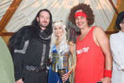 (L) to (R) JC Chasez, Kathryn Smith and Guest attend Podwall Entertainment's 9th Annual Halloween Party Presented By Makers Mark at The Peppermint Club on October 31, 2018 in Los Angeles, California.