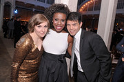 (L-R) Honoree Lena Dunham, Uzo Aduba, and Tell Leung pose at the Point Honors New York gala at New York Public Library on April 7, 2014 in New York City.