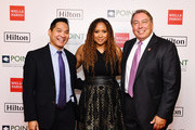 Tracie Thoms (C) and Point Foundation Co-Chairs, Board of Directors Alan Guno and James Williams attend Point Honors Los Angeles 2019, Benefitting Point Foundation at The Beverly Hilton Hotel on October 12, 2019 in Beverly Hills, California.
