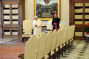 Pope Benedict XVI (L) flanked by his personal secretary Monsignor Georg Ganswein (R), waits at his private library for a meeting with  President of the Republic of Macedonia Nikola Gruevski on May 24, 2012 in Vatican City, Vatican.