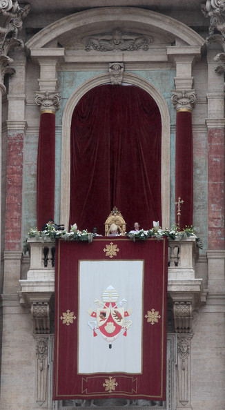 """Pope Benedict XVI Delivers """"Urbi Et Orbi"""" Message And Blessing [benedict xvi,urbi et orbi,blessing,message,blessing,pardon,goodness,message,holy places,architecture,door,building,arch,facade,convent,shrine,altar,balcony,st peters basilica]"""