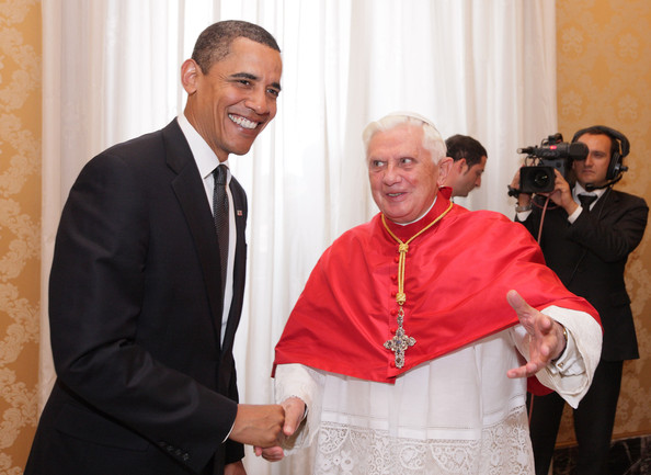 Pope Benedict XVI US President Barack Obama (L) meets with Pope Benedict XVI in his library at the Vatican on July 10, 2009 in Vatican City, Vatican. Obama was meeting with The Pope for the first time as President following the G8 summit in L'Aquila, Italy.