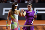 Ana Ivanovic of Serbia shakes hands with Carina Witthoeft of Germany during Day 2 of the Porsche Tennis Grand Prix at Porsche-Arena on April 19, 2016 in Stuttgart, Germany.