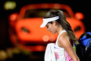 Ana Ivanovic of Serbia leaves the court after her match against Karolina Pliskova of Czech Republic during Day 4 of the Porsche Tennis Grand Prix at Porsche-Arena on April 21, 2016 in Stuttgart, Germany.