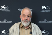 British filmmaker Director Mike Leigh poses to promote his film 'Peterloo' in the Jaeger-LeCoultre Lounge at the 75th Venice Film Festival at Hotel Excelsior on September 1, 2018 in Venice, Italy.