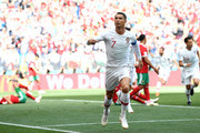 Cristiano Ronaldo of Portugal celebrates after scoring his team's first goal during the 2018 FIFA World Cup Russia group B match between Portugal and Morocco at Luzhniki Stadium on June 20, 2018 in Moscow, Russia.