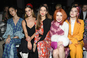 (L-R) Tao Okamoto, Nina Agdal, Angela Sarafyan, Bella Thorne and  Dani Thorne attend the Prabal Gurung front row during New York Fashion Week: The Shows at Gallery I at Spring Studios on February 10, 2019 in New York City.