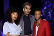 (L-R) Indya Moore, Alok V. Menon, and Dyllón Burnside attend the Prabal Gurung front row during New York Fashion Week: The Shows at Gallery I at Spring Studios on September 08, 2019 in New York City.