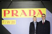 Liv Corfixen (L) and Nicolas Winding Refn (R) attend the Prada Show during Milan Menswear Fashion Week Fall/Winter 2020/21 on January 12, 2020 in Milan, Italy.