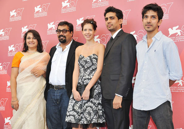 Prashant Prakash (L-C) Actress Puja Sarup, Director Anurag Kashyap, actress Kalki Koechlin and actor Prashant Prakash (R) attends the 'That Girl In Yellow Boots' photocall during 67th Venice Film Festival at the Palazzo del Casino on September 9, 2010 in Venice, Italy.