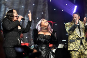 "(L-R) Faith Evans, Lil' Kim, and Ma$e perform onstage during the Pre-GRAMMY Gala and GRAMMY Salute to Industry Icons Honoring Sean ""Diddy"" Combs on January 25, 2020 in Beverly Hills, California."