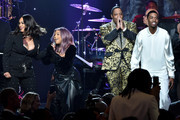 "(L-R) Faith Evans, Lil' Kim, Mase and King Combs perform onstage during the Pre-GRAMMY Gala and GRAMMY Salute to Industry Icons Honoring Sean ""Diddy"" Combs on January 25, 2020 in Beverly Hills, California."