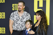 "(L-R) Steve Howey, William Wolf Howey, and Sarah Shahi attend the premiere of 20th Century Fox's ""Stuber"" at Regal Cinemas L.A. Live on July 10, 2019 in Los Angeles, California."