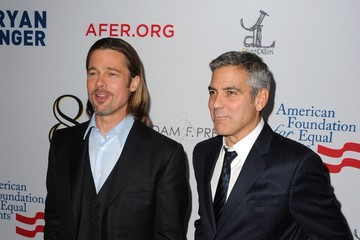 """Brad Pitt George Clooney Premiere Of """"8"""" At The Wilshire Ebell Theatre - Arrivals"""