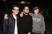 """(L-R) Eli Bush, Jonah Hill and Gio Galicia attend the premiere of A24's """"Mid90s"""" after party on October 18, 2018 in Los Angeles, California."""