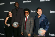 "(L-R) Julia Fox, Kevin Garnett,  The Weeknd and Adam Sandler at the premiere of A24's ""Uncut Gems"" at The Dome at Arclight Hollywood on December 11, 2019 in Hollywood, California."