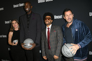 "Julia Fox, Kevin Garnett, The Weeknd and Adam Sandler attend the premiere of A24's ""Uncut Gems"" at The Dome at Arclight Hollywood on December 11, 2019 in Hollywood, California."