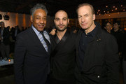 """(L-R) Giancarlo Esposito, Michael Mando and Bob Odenkirk pose at the after party for the premiere of AMC's """"Better Call Saul"""" Season 5 on February 05, 2020 in Hollywood, California."""