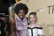 "Viola Davis (L) and Mckenna Grace arrive at the premiere of Amazon Studios' ""Troop Zero"" at Pacific Theatres at The Grove on January 13, 2020 in Los Angeles, California."