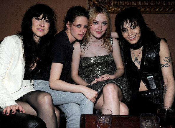 Director Floria Sigismondi, actress Kristen Stewart, actress Dakota Fanning and singer Joan Jett attend the after party for the premiere of Apparition's 'The Runaways' held at ArcLight Cinemas Cinerama Dome on March 11, 2010 in Los Angeles, California.
