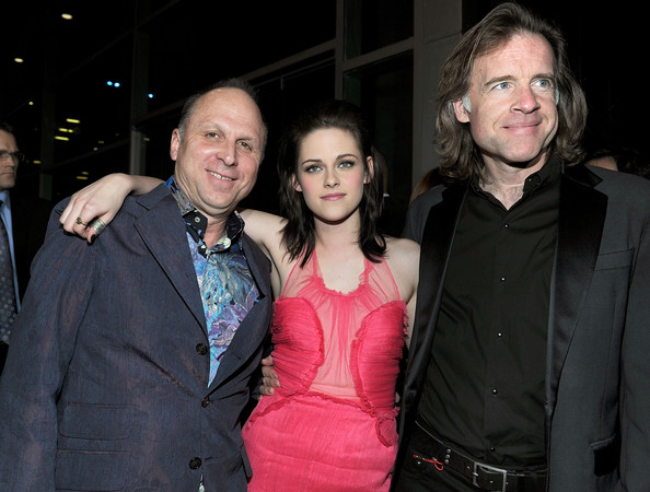 "(L-R) CEO of Apparition Bob Berney, actress Kristen Stewart, and producer William Pohlad arrive at the premiere of Apparition's ""The Runaways"" held at ArcLight Cinemas Cinerama Dome on March 11, 2010 in Los Angeles, California."