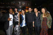 (L-R) Actors Marcus Johnson, Tao Okamoto, Kihiro, director/writer Adam Sherman, Kentez Asaka and producer Abby Dong attend the premiere of Breaking Glass Pictures' 'She's Just A Shadow' after party at The Spare Room on July 18, 2019 in Hollywood, California.