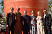 "Actors Domhnall Gleeson, Elizabeth Debicki, James Corden, Rose Byrne, Margot Robbie and director/writer/producer Will Gluck attend the premiere of Columbia Pictures' ""Peter Rabbit"" at The Grove on February 3, 2018 in Los Angeles, California."