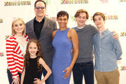 """Carly Hughes, Diedrich Bader, Meg Donnelly, Julia Butters, Logan Pepper and Daniel DiMaggio attends the Los Angeles premiere for Disney Channel's """"Zombies"""" held at Walt Disney Studio Lot on February 3, 2018 in Burbank, California."""