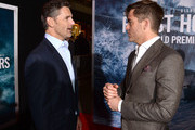 "Actors Eric Bana (L) and Chris Pine arrive at the premiere of Disney's ""The Finest Hours"" at the TCL Chinese Theatre on January 25, 2016 in Los Angeles, California."