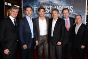"(L-R) Producer Jim Whitaker, actors Eric Bana, Chris Pine, Alan Horn, Chairman, Walt Disney Studios, Sean Bailey, President, Walt Disney Motion Picture Productions and Alan Bergman, President, Walt Disney Studios pose at the premiere of Disney's ""The Finest Hours"" at the TCL Chinese Theatre on January 25, 2016 in Los Angeles, California."