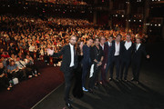 """(L-R) Director Joachim Ronning, actors Kaya Scodelario, Orlando Bloom, Johnny Depp, Geoffrey Rush, Brenton Thwaites, Javier Bardem, Director Espen Sandberg and Producer Jerry Bruckheimer at the Premiere of Disney's and Jerry Bruckheimer Films' """"Pirates of the Caribbean: Dead Men Tell No Tales,"""" at the Dolby Theatre in Hollywood, CA with Johnny Depp as the one-and-only Captain Jack in a rollicking new tale of the high seas infused with the elements of fantasy, humor and action that have resulted in an international phenomenon for the past 13 years. May 18, 2017 in Hollywood, California."""