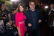 Emily Swallow and Jon Favreau attend the premiere of Disney+'s 'The Mandalorian' at El Capitan Theatre on November 13, 2019 in Los Angeles, California.