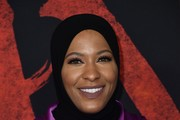 """Ibtihaj Muhammad attends the premiere of Disney's """"Mulan"""" at Dolby Theatre on March 09, 2020 in Hollywood, California."""
