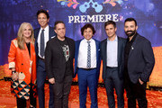 "(L-R) Producer Darla K. Anderson, actor Benjamin Bratt, director Lee Unkrich, actors Anthony Gonzalez and Gael Garcia Bernal, and co-director/screenwriter Adrian Molina pose at the premiere of Disney Pixar's ""Coco"" at the El Capitan Theatre on November 8, 2017 in Los Angeles, California."