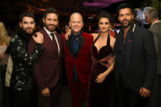"(L-R) Actors Darren Criss, Edgar Ramirez, executive producer Ryan Murphy, actors Penelope Cruz and Ricky Martin pose at the after party for the premiere of FX's ""The Assassination Of Gianni Versace: American Crime Story"" at the Hollywood Palladium on January 8, 2018 in Los Angeles, California."