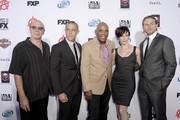 "(L-R) Actors Dayton Callie, Theo Rossi, Executive Producer Paris Barclay, actors Maggie Siff and Charlie Hunnam attend the season 6 premiere of FX's ""Sons Of Anarchy"" at Dolby Theatre on September 7, 2013 in Hollywood, California."