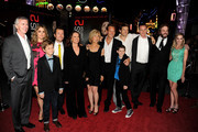 (L-R) Actors Steve Coulter, Rose Byrne, Ty Simpkins, actor/screenwriter Leigh Whannell, actors Barbara Hershey, Lin Shaye, Patrick Wilson, Andrew Astor, producer Jason Blum, Peter Schlessel, CEO, FilmDistrict, actors Angus Sampson and Lindsay Seim arrive at the premiere of FilmDistrict's 'Insidious: Chapter 2' at CityWalk on September 10, 2013 in Universal City, California.