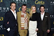 "(L-R) Lawrence Bender, Neil Jordan, Chloe Grace Moretz and John Penotti arrive at the premiere of Focus Features' ""Greta"" at the ArcLight Hollywood on February 26, 2019 in Hollywood, California."