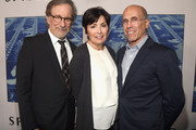 """(L-R) Steven Spielberg, Marilyn Katzenberg and Jeffrey Katzenberg at the Premiere Of HBO's """"Spielberg"""" at Paramount Studios on September 26, 2017 in Hollywood, California."""