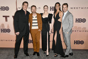 """(L-R) Jonathan Nolan, Aaron Paul, Evan Rachel Wood, Lisa Joy, and President, HBO Programming, Casey Bloys attend the Premiere of HBO's """"Westworld"""" Season 3 at TCL Chinese Theatre on March 05, 2020 in Hollywood, California."""