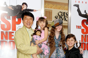 """(L-R) Actors Jackie Chan, Alina Foley, Madeline Carroll and Will Shadley arrive at the premiere of Lionsgate and Relativity Media's """"The Spy Next Door"""" at The Grove on January 9, 2010 in Los Angeles, California."""