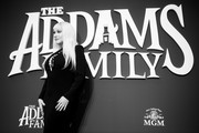 Image has been converted to black and white) Christina Aguilera attends the premiere of MGM's 'The Addams Family' at Westfield Century City AMC on October 06, 2019 in Los Angeles, California.